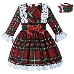 Lajinirr Chicas Tartán A cuadros Navidad Fiesta Vestidos Otoño Vestir Traje Con vendas , 4 años