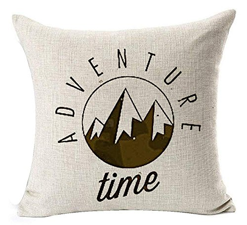 KLYDH Summer Camping In The Mountain Fishing Forest Simple Sketch Bonfire Tent Adventure Time Decorative Home Office Throw Pillow Case Cushion Cover Square,Cover Size:20 x 20 Inch(50cm x 50cm) (Adventure Halloween-party Big)