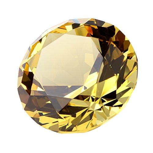 H&D Kristall Golden Gelb Deko Diamant form Briefbeschwerer Hochzeit Dame Geschenk 30 mm