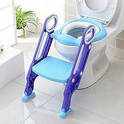BAMNY Siège de Toilette Enfant Pliable et Réglable, Reducteur de Toilette Bébé avec Marches Larges, Lunette de Toilette Confortable Matériaux de Haute Qualité (Bleu)