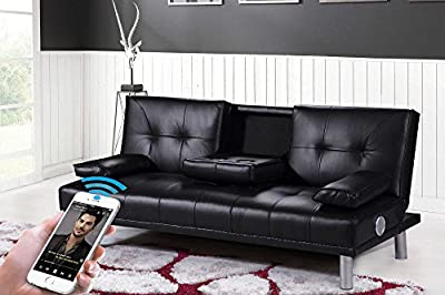 New Manhattan Modern 'Sleep Design' Faux Leather 3 Seater Sofa Bed With Bluetooth Stereo Speakers- Available in Black, Red, White, Green or Brown produced by SLEEP DESIGN - quick delivery from UK.