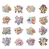 PandaHall Elite 300 Pezzi Bottoni in Legno 2-Foro per Decorazioni Cucito Scrapbooking Artigianato Fai da Te, Colore Misto, 16 ~ 35x16 ~ 40x2,5 ~ 5mm, Foro: 1 ~ 2mm, 20 pezzi / tipo, 300 pezzi / set
