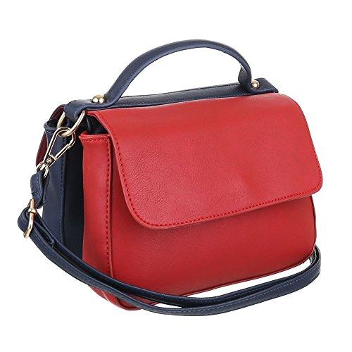 iTal-dEsiGn Damentasche Kleine Schultertasche Handtasche Kunstleder TA-A141 Blau Rot