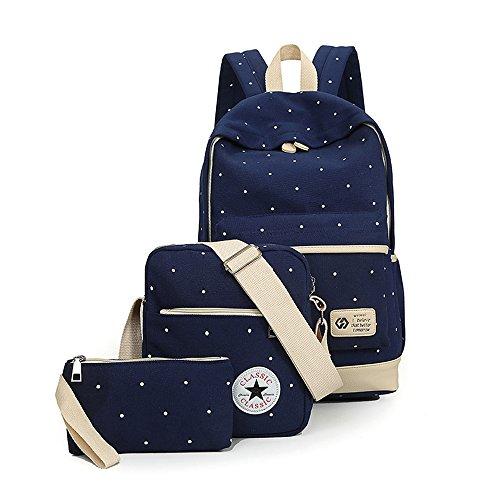 Camping-rucksack (Bravoe Extra groß Damen Wellenpunkt Canvas Schule Rucksack Outdoor Camping Picknick Sports Universität Rucksack Schultasche + Schultertasche + Geldbeutel für Teen Girls Marineblau (blau))