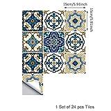 ENCOFT Topmail 24 Pièces Stickers Carrelage Auto-adhésif Imperméable en PVC Design de Carreaux de Ciment Autocollant Mural Décoratif pour Cuisine Salle de Bain (Style Marocain, 15x15cm)