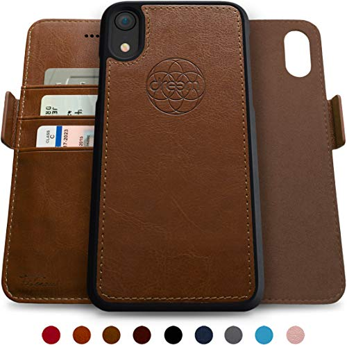 Dreem Fibonacci 2-in-1 Wallet-Case for iPhone XR Magnetic Detachable Unbreakable TPU Slim-Case, Wireless Charge, RFID Protection, 2-Way Stand, Luxury Vegan Leather, Gift-Box - Chocolate