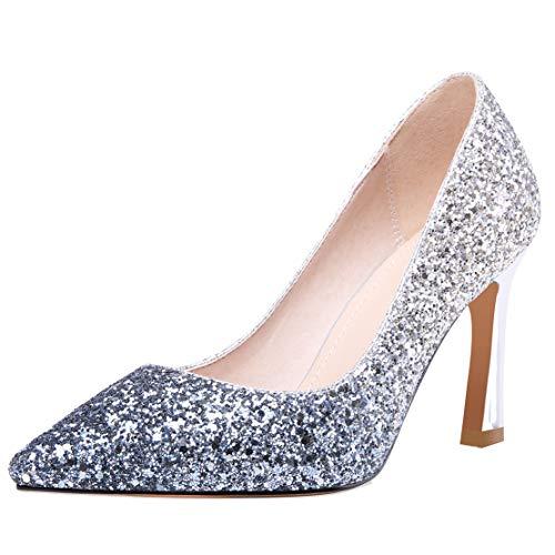 AIYOUMEI Damen High Heels Pumps Stiletto Glitzer Abendschuhe Brautschuhe Hochzeit Schuhe Blau 40 EU