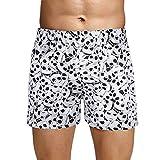 Agoky Herren Boxer Shorts Kurze Hose Satin Unterhosen mit Totenkopf Motiven Männer Trunks sexy Unterwäsche gr. M L XL XXL Weiß L(Taille 83cm)