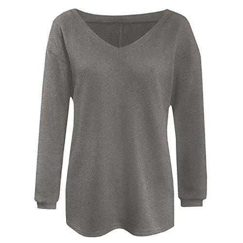 SUNNOW Damen Herbst Winter Pullover Einfarbig Basic V-Ausschnitt Locker Mode Strickjacke Langarm Dunkelgrau