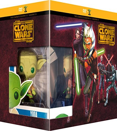 Wars (Complete Seasons 1-5) - 22-DVD Box Set & Yoda FUNKO Figurine ( Star Wars: Clone Wars - Seasons One to Five (108 Episodes) ) [ NON-USA FORMAT, PAL, Reg.2 Import - France ] by Tom Kane (Star Wars The Clone Wars Filmen)