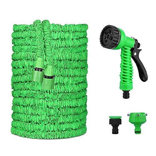 VEGKEY Tubo da Giardino,Tubo Irrigazione Estensibile 30M(100ft) Tubo Estensibile da Giardino con 8 Funzioni di Spruzzo Tubo da Giardino espandibile per Camper e Giardino di Casa (Green)