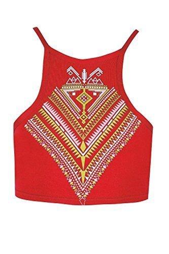 Be Jealous Damen Riemchen Bustier Womens Azteken Aufdruck Front Dünne Schulterriemen Bauchfreiestop Rot