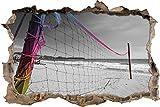Stil.Zeit Grande pallavolo Rete Nera/svolta Muro Bianco in Aspetto 3D, Parete o in Formato Adesivo Porta: 92x62cm, autoadesivi della Parete, Autoadesivo della Parete, Decorazione della Par