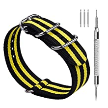 Fullmosa 10 Colors for Zulu Watch Strap 18mm 20mm 22mm 24mm, 18mm Watch Strap Premium Stripe Nylon Watch Band with Adjustable Metal Clasp for Men Women, 18mm Black+Yellow