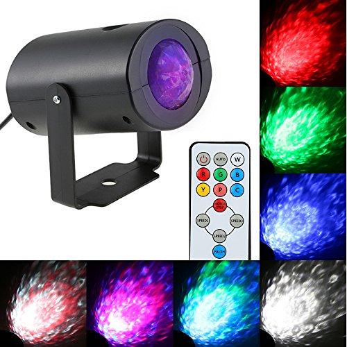 Galapara Pinspot LED,9W LED StrahlScheinwerfer Bühnenlicht Lichteffekt DJ Disco RGBW Water Wave Ripple Effect LED Bühnenlicht mit IR Remote Support für KTV Partei Verein Bar Bankett Schule -
