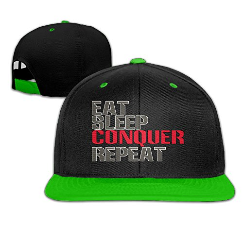 Show time Eat Sleep Conquer Repeat Brim Cap gorra plana Bill Cap rojo