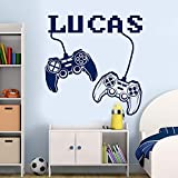 WWYJN Personalized Name Decal Joystick Decal, Gamer Sticker Teen Boy Room Decor, Playroom Decal, Video Game Decal Black 57X58CM