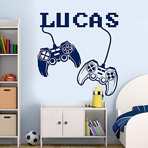 WWYJN Personalized Name Decal Joystick Decal, Gamer Sticker Teen Boy Room Decor, Playroom Decal, Video Game Decal Gray 42X43CM