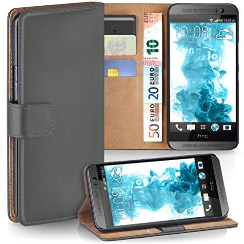 moex HTC One M8 | Hülle Dunkel-Grau mit Karten-Fach 360° Book Klapp-Hülle Handytasche Kunst-Leder Handyhülle für HTC One M8/M8s Case Flip Cover Schutzhülle Tasche