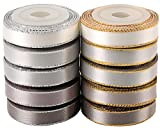 LaRibbons 10mm Breitem Gold/Silbernem Rand Doppelseitigem Satin-Band, 4.5m x 10 Farben (Silber Style)