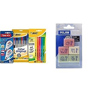 BIC 942147 – Estuche con 10 bolígrafos de colores, 5 marcadores y 2 correctores + Milan BMM9222 – Pack de 5 gomas de borrar
