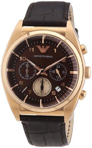 Emporio Armani AR0371 - Orologio da polso da uomo, cinturino in pelle colore marrone