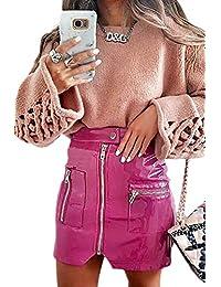 f04a094a5a yulinge Minifaldas con Cremallera Y Cintura Alta De Imitación De Cuero para  Mujer