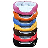 Honearn Warm Washable Dog Pet Basket Bed House with Fleece Lining Rosy