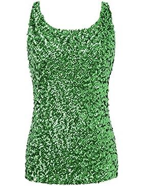 PrettyGuide Damen Shimmer Glam Pailletten verziert Sparkle Trägershirt-Weste Tops
