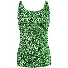 ab8a7880a6aa PrettyGuide Damen Shimmer Glam Pailletten verziert Sparkle Trägershirt-Weste  Tops