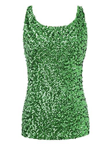 PrettyGuide Damen Shimmer Glam Pailletten verziert Sparkle Trägershirt-Weste Tops, Grün, S/EU32-34