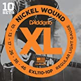 D\'Addario EXL110-10P XL Nickel Wound Jeu de cordes pour guitare électrique Tirant Regular Light (.010-.046) Pack de 10