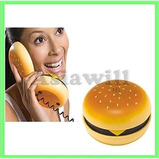 Asiawill Novelty - Telefon, mit Kabel, in Hamburger- oder Cheeseburger - Form.