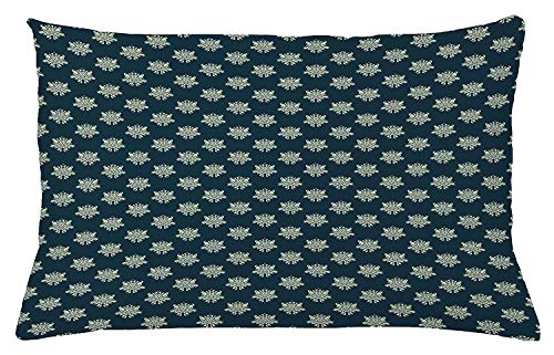 ow Cushion Cover, Damask Style Swirls and Foliage Leaves Pattern with Arabesque Motifs, Decorative Square Accent Pillow Case, 18 X 18 Inches, Dark Blue Pale Green ()