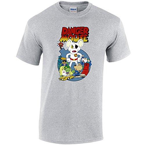 Retro 1980T-Shirt TV Cartoon Charakter Vintage Style Dangermouse TShirt Grau - Grau - Sport Grey