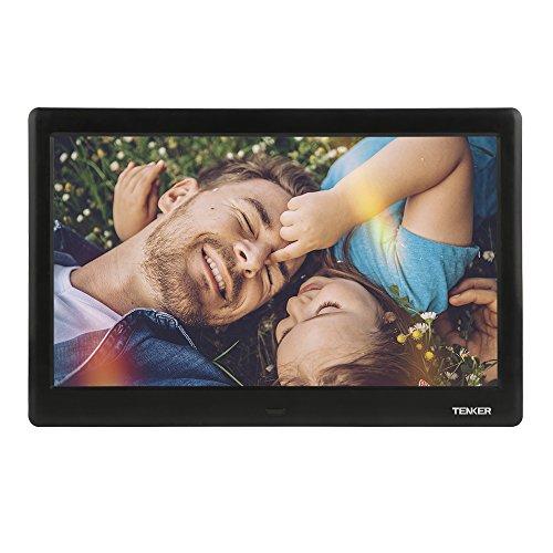 TENKER 10 Zoll HD Digitaler Bilderrahmen IPS LCD Display mit Autodrehung/Kalendar/Uhr Funktion, MP3/Foto/Videoplayer mit Fernbedienung (Schwarz) (10-Zoll)