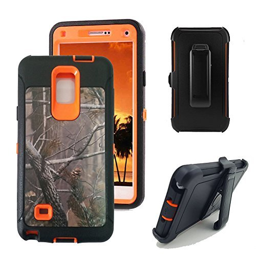 Galaxy Note 4 Fall, harsel Defender Series Heavy Duty Camo Tough Rugged Impact Armor Hybrid Military mit Gürtelclip Integrierter Displayschutzfolie Schutzhülle für Galaxy Note 4, Tree/Orange