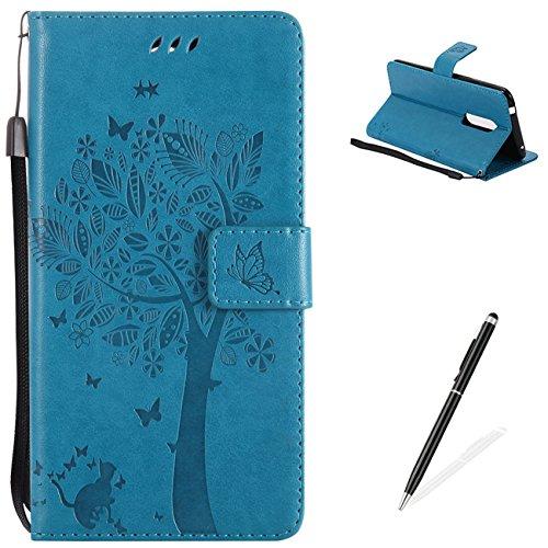 e,Premium PU Leder und Brieftasche Fall Bunte Muster Embossed flower Pattern mit [Magnetverschluss] [Stand Funktion] Protective Shell - Blau (Um Schaltflächen)