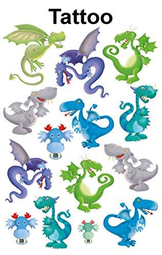 Avery Zweckform 56751 Kinder Tattoos (Tattoofolie Drachen) 14 Motive (Drache Temporäre Tattoo)