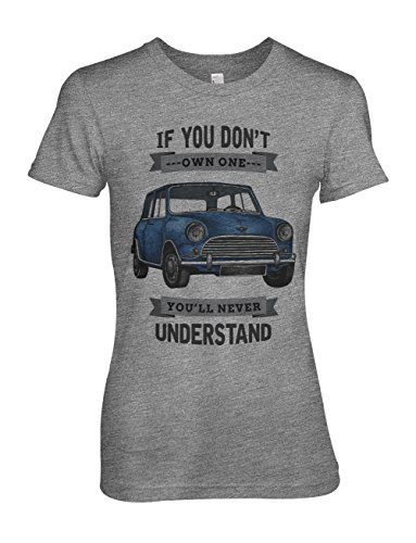 If You Don't Own One You'll Never Understand Classic Vintage Blue Car Damen T-Shirt Grau X-Large (Classic Premium T-shirt Crewneck Cotton)