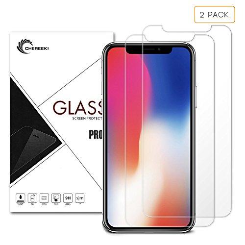 iPhone X Protector de pantalla, CHEREEKI 2-Pack Premium templado vidrio Protector de pantalla para Apple Iphone X, 0,26 mm, dureza 9H Dureza HD clara, antiarañazos y antihuellas, libre de burbujas