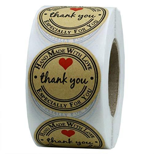 Gaddrt Sticke Label Sticker 1 Pollice Di Carta Kraft Grazie Etichette Adesive Grazie Adesivi / 500 Etichette Per Rotolo-Facile Rimovibile -1 X Wall Sticke