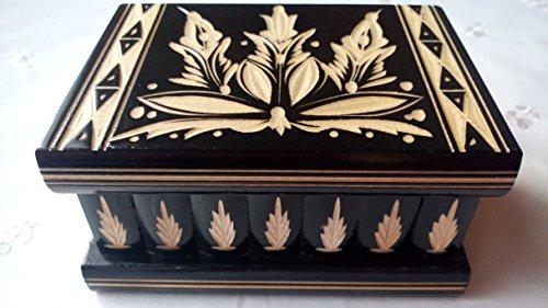 Neu schwarz Magie Rätsel Puzzle Geheimfach Schmuckkasten Herausforderung Schatz schön handwerk handarbeit Holz schatulle Zauber kästen (Handwerk Holz Kisten)