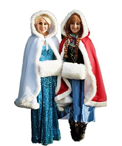 CoCogirls Elfenbein Kurz Warm Winter Kunstpelz Mantel Bolero Umhang Brautstola Cosplay Schal Stola für Brautkleid Weiß/Weiß