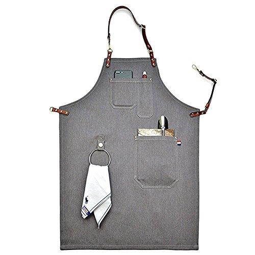 cleanpower Unisex Denim Schürzen verstellbar Lederband Chef Küche Schürze Workwear mit Werkzeug Pocket, S (Werkzeug, Halbe Schürze)