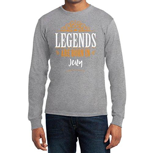 Legends are born in Juli - Geschenke Langarm T-Shirt Grau