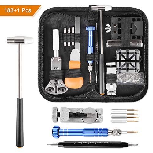 Yissvic Uhrenwerkzeug Set 183-teilig Uhren Reparatur Set Profi Uhrmacherwerkzeug Uhr Reparatur Werkzeug mit Nylontasche Schwarz (Verpackung MEHRWEG)
