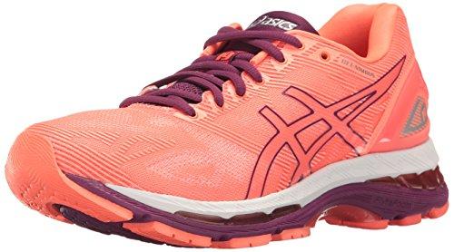 ASICS Women's Gel-Nimbus 19 Flash Coral/Dark Purple White Ankle-High Running Shoe - 13M