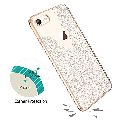 ESR iPhone 8 Hülle, Weiche TPU Rahmen, Hartem PC Rückdeckel [Manjusaka Muster] Schutzhülle [Kabelloses Aufladen Unterstützung] für Apple iPhone 8 4.7 Zoll 2017 Freigegeben. Spitze Blume