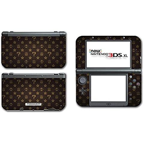 New Super Mario Bros 3D World Land Power-up Mushroom Shell Star Flower Coin Brown Edition Video Game Vinyl Decal Skin Sticker Cover for the New Nintendo 3DS XL LL 2015 System Console by Vinyl Skin